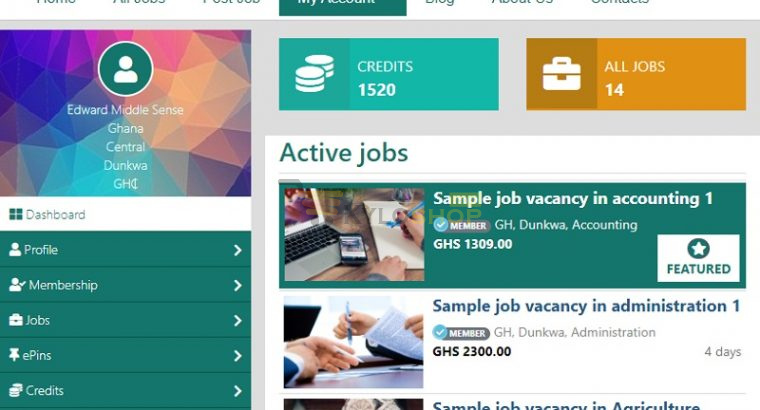 Jobs Website with Web Hosting and Domain Name